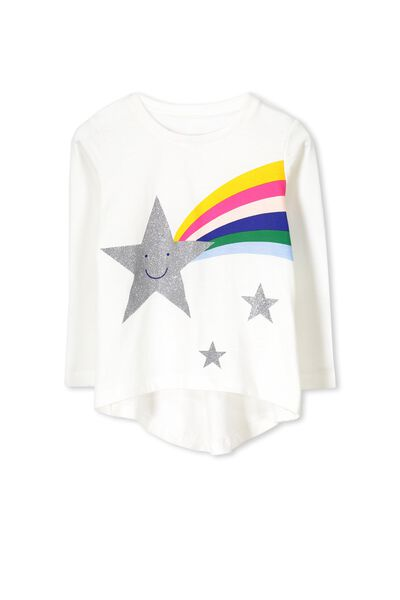 Penelope Long Sleeve Curved Hem, VANILLA/RAINBOW SHOOTING STAR