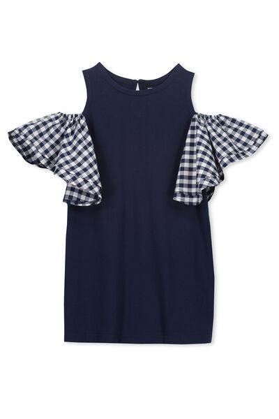 Matilda Frill Dress, PEACOAT/GINGHAM