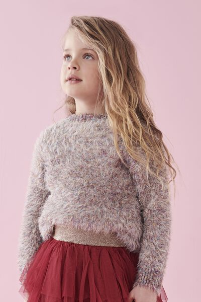 Nancy Knit Jumper, PINK CHAMPAGNE/RAINBOW