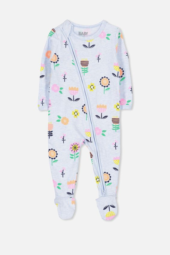 Sleep Mini Zip All In One Jumpsuit, BABY BLUE MARLE/FLORAL