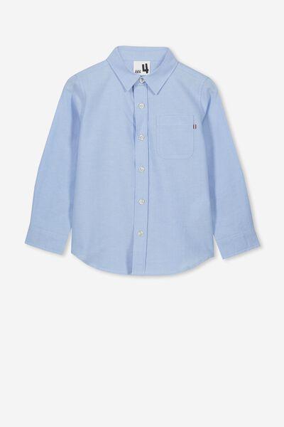 Prep Long Sleeve Shirt, SKY BLUE OXFORD