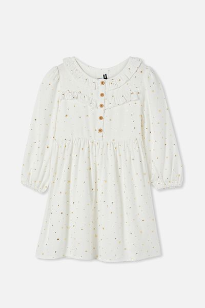 Adeline Long Sleeve Dress, VANILLA/STARS