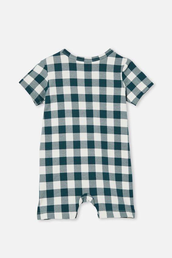 The Short Sleeve Romper, PETROL TEAL/VANILLA MAXI GINGHAM