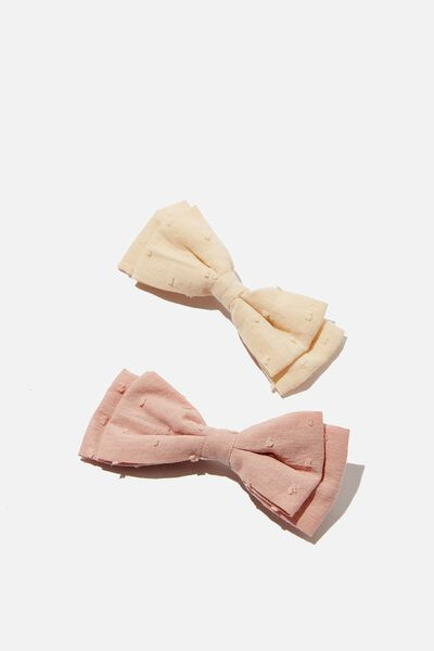 Big Bow Clips, MARSHMALLOW/VANILLA DOBBY