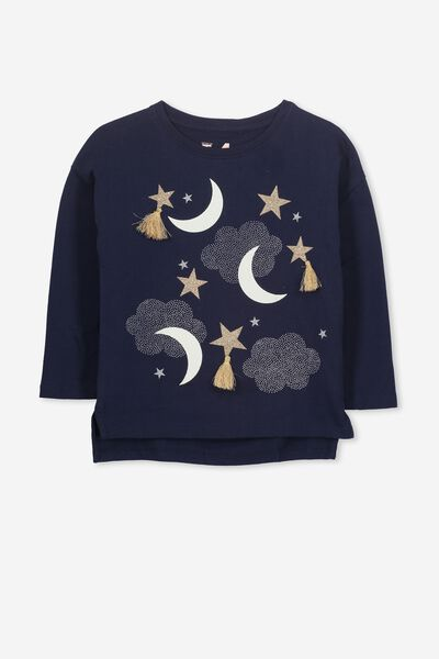 Anna Long Sleeve Tee, PEACOAT/STARS & MOONS