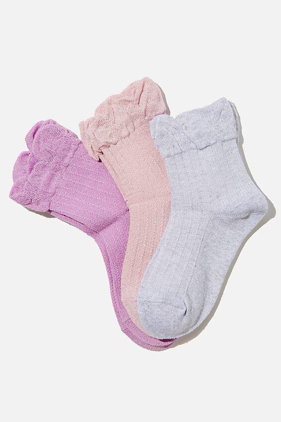 Kids 3Pk Crew Socks, SHIMMER FRILL