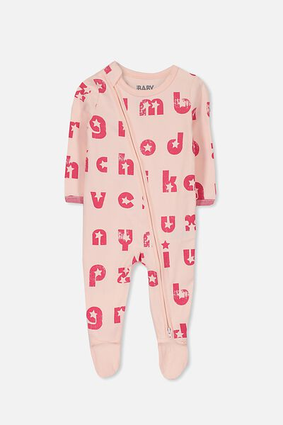 Sleep Mini Zip All In One Jumpsuit, SHELL PEACH/LETTER FUN