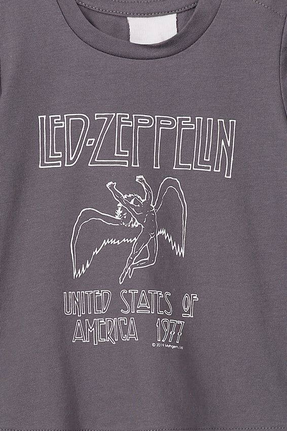 Led Zepplin Short Sleeve Baby Tee, LCN PRO RABBIT GREY LED ZEPPLIN