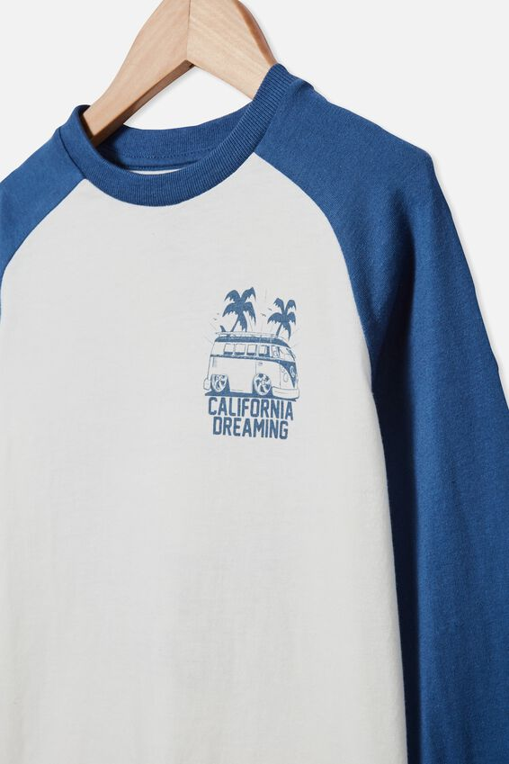 Tom Long Sleeve Raglan Tee, PETTY BLUE / CALIFORNIA DREAMING