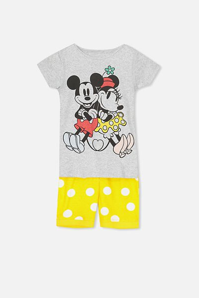 Chloe Girls Short Sleeve PJ Set, LCN MICKEY AND MINNIE