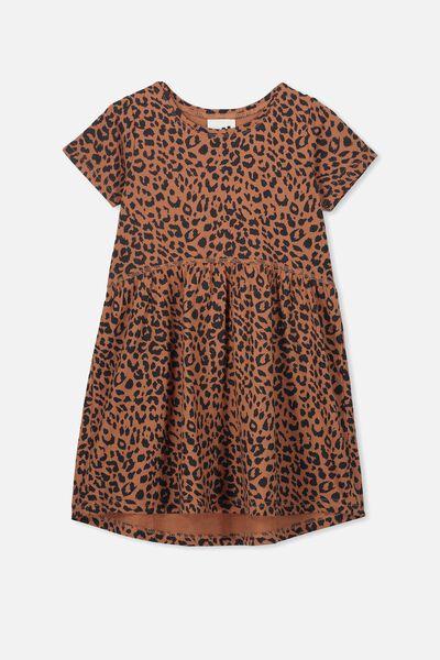 Freya Short Sleeve Dress, AMBER BROWN/LEOPARD