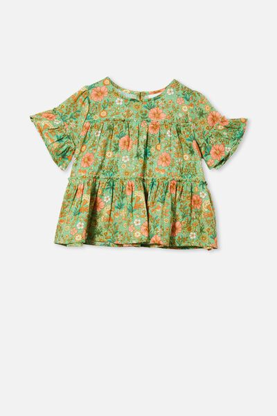 Frede Short Sleeve Frill Top, SPEARMINT/GARDEN FLORAL