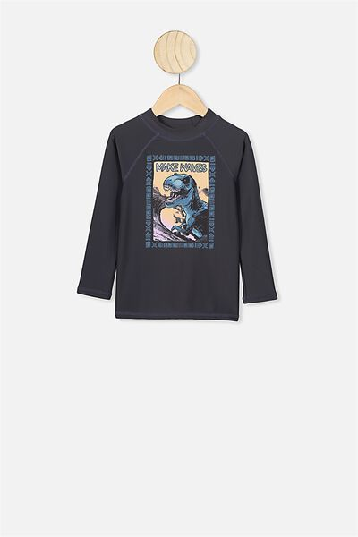 Flynn Long Sleeve Rash Vest, PHANTOM RETRO DINO