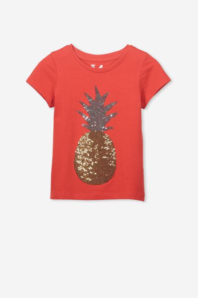 Anna Ss Tee, FLAME SCARLET/PINEAPPLE/SET IN