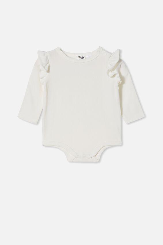 The Long Sleeve Ruffle Bubbysuit, VANILLA