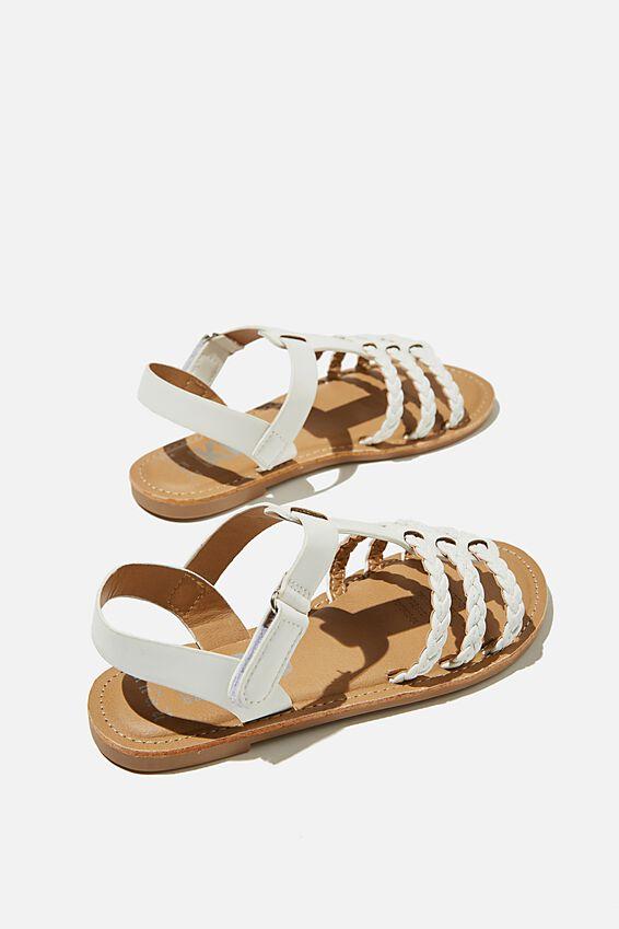 Woven Braid Sandal, WHITE