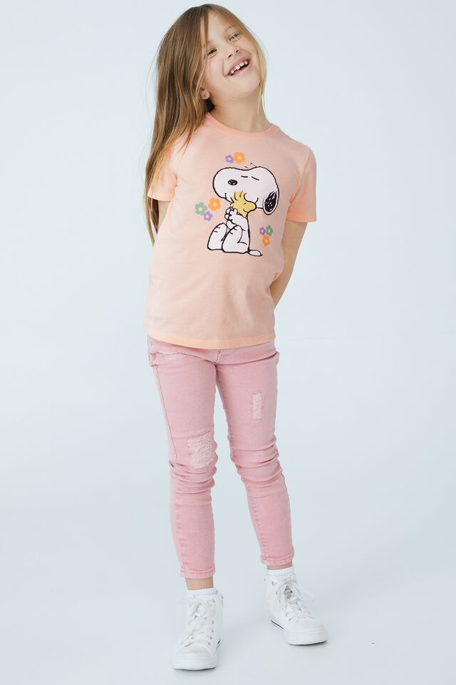 Snoopy Short Sleeve Tee, LCN PEA SNOOPY WITH FLOWERS/PEACH TANG