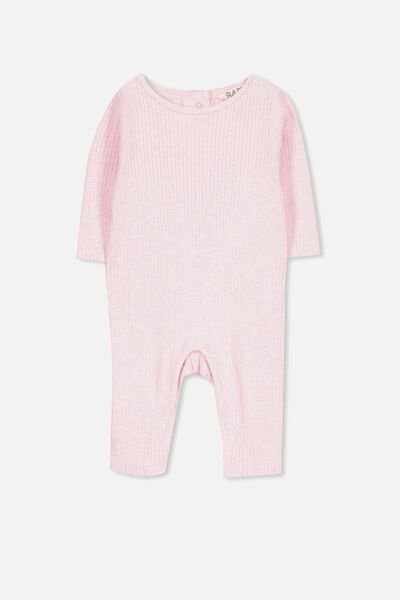 The Rib Snap Romper, PINK MARLE