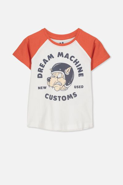 Max Short Sleeve Raglan Tee, VANILLA/ORANGE DREAM MACHINE