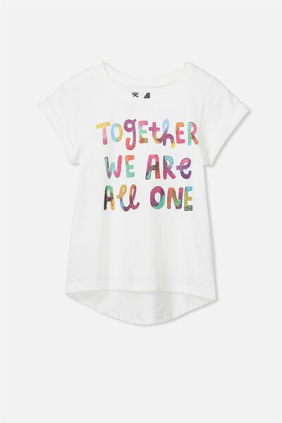 Penelope Short Sleeve Curved Hem Tee, VANILLA/TOGETHER WE ARE ALL ONE