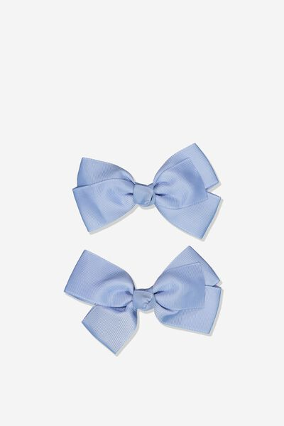 Big Bow Clips, DUSTY BLUE 2PK