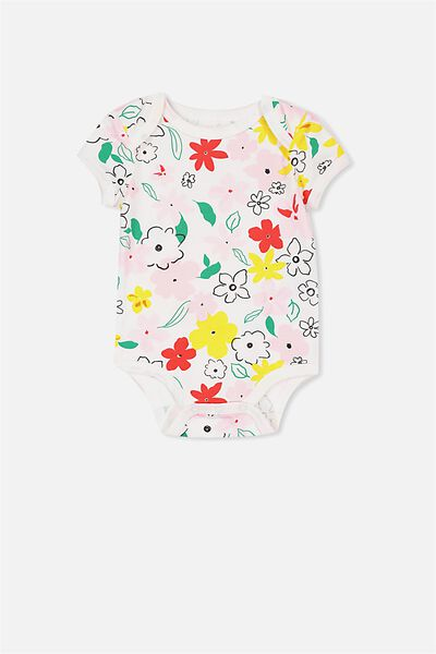 Mini Short Sleeve Bubbysuit, VANILLA/BLOCK FLORAL