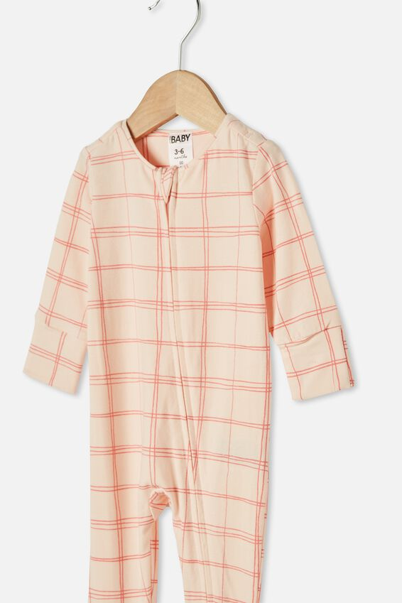 The Long Sleeve Zip Romper, CRYSTAL PINK/RETRO CORAL SKETCHY GRID