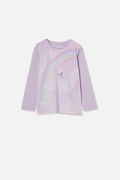 Penelope Long Sleeve Tee, VINTAGE LILAC/FLYING RAINBOW KITTY