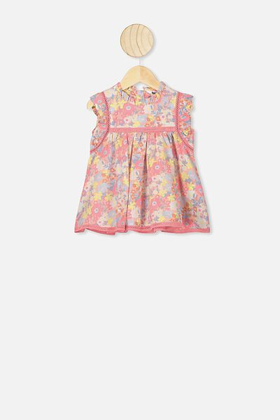 Tess Flutter Sleeve Dress, CRYSTAL PINK/MEADOW FLORAL