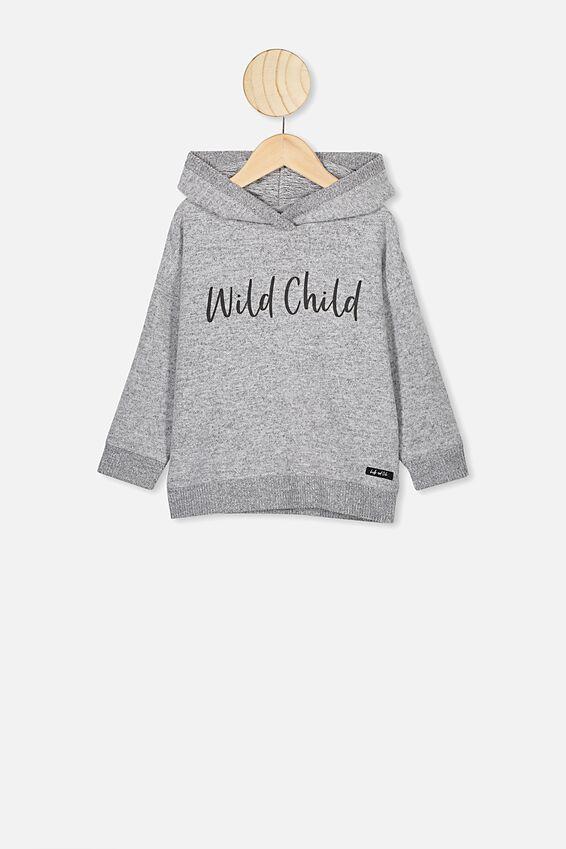 Super Soft Hoodie, GREY MARLE/WILD CHILD