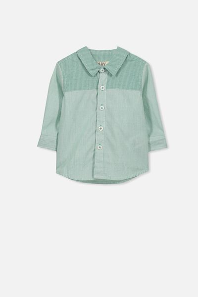 Zac Long Sleeve Shirt, KELLY GREEN CHECK/STRIPE