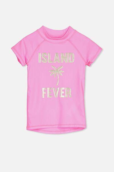 Hamilton Short Sleeve Rashie, BRIGHTER PINK/ISLAND FEVER