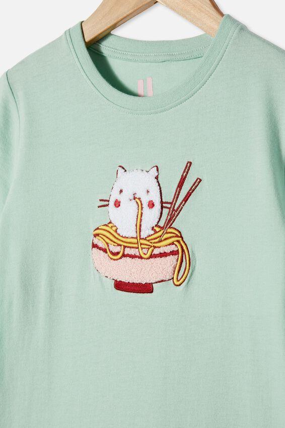 Stevie Short Sleeve Embellished Tee, DUCK EGG NOODLE CAT