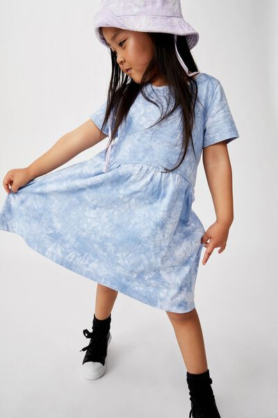 Freya Short Sleeve Dress, DUSTY BLUE TIE DYE