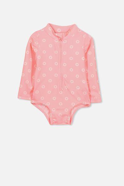 Malia Long Sleeve One Piece Swimsuit, PINK GRAPEFRUIT/DAISY
