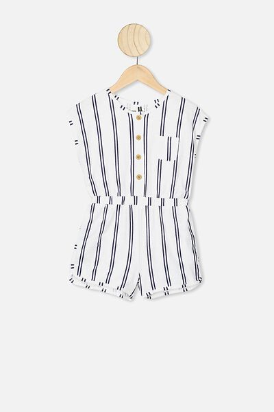 Edith Playsuit, VANILLA/INDIAN INK STRIPE