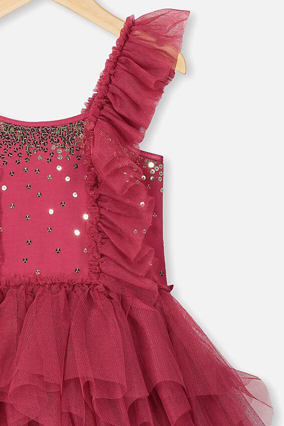Iris Tulle Dress, BERRY RUFFLES/GOLD SPARKLE