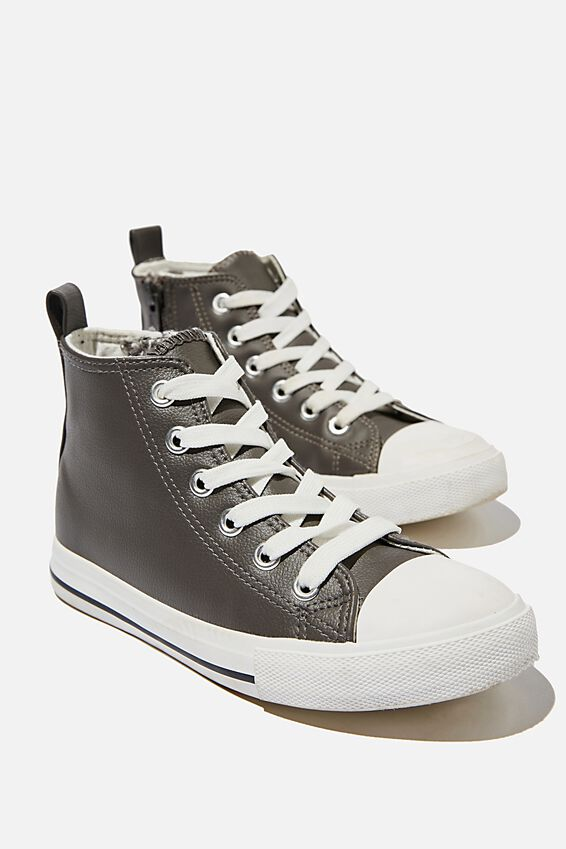 Classic High Top Trainer, GREY SMOOTH