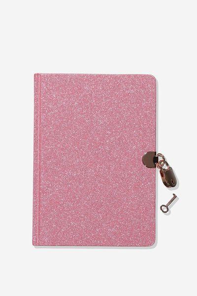 Sunny Buddy A5 Secret Notebook, PINK GLITTER