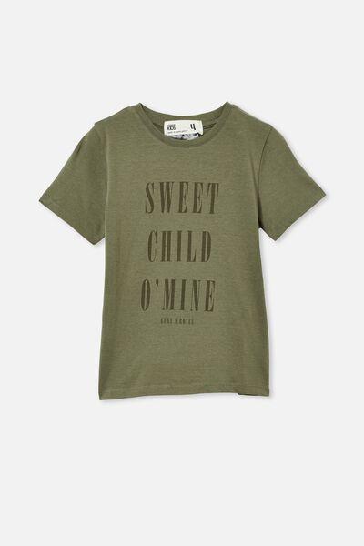 License Short Sleeve Tee, LCN BR SWEET CHILD O MINE/SWAG GREEN