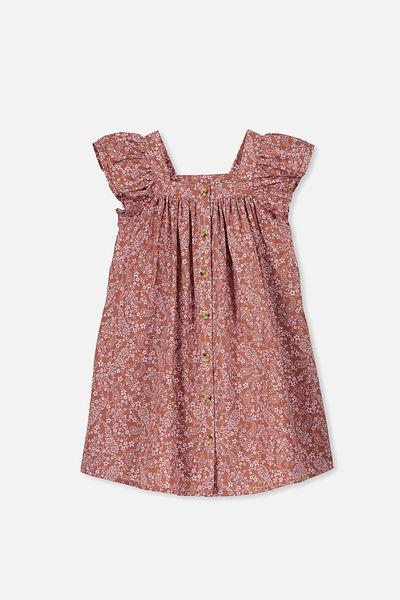 Polly Placket Dress, RUSTY ROSE/PAISLEY FLORAL