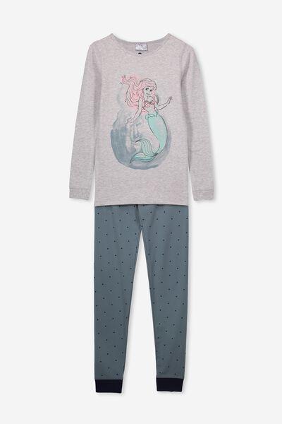 Ruby Long Sleeve Girls Pyjamas, LCN DIS LITTLE MERMAID/GREY MARLE