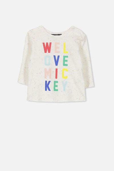 License Ginger Ls Tee, OATMEAL MARLE SPECKLE/LOVE MICKEY
