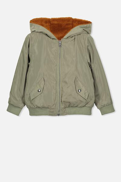 Annie Reversible Bomber Jacket, KHAKI/AMBER BROWN