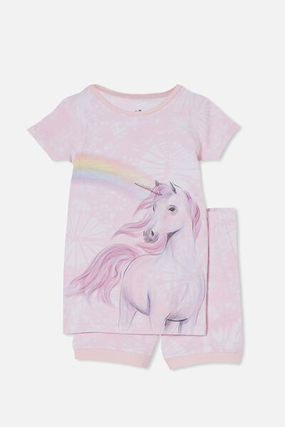 Nikki Short Sleeve Pyjama Set, RAINBOW UNICORN TIE DYE/CRYSTAL PINK