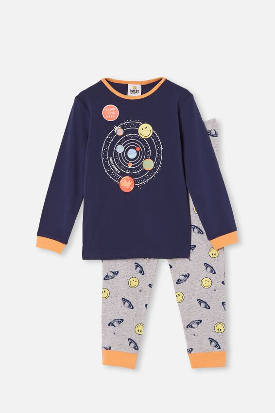 Orlando Long Sleeve Pyjama Set Licensed, LCN SMILEY SPACE INDIGO