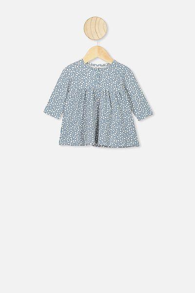 Molly Long Sleeve Dress, DEEP POOL BLUE/EDITH FLORAL