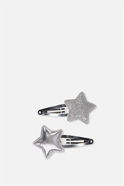 Dress Up Hair Clip, PADDED SILVER STARS
