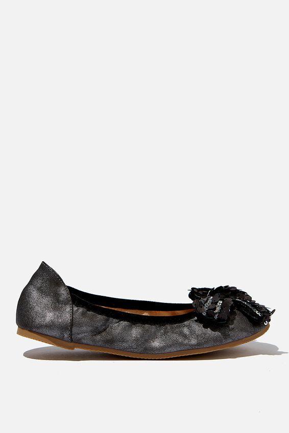 Primo Ballet Flat, METALLIC BLACK BOW
