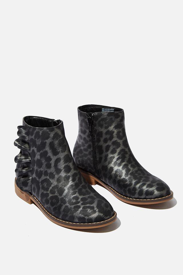 Ruffle Ankle Boot, GREY ANIMAL
